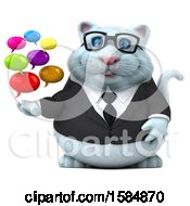 Clipart Of A 3d White Business Kitty Cat Holding Messages On A White Background Royalty Free Vector Illustration
