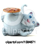 Clipart Of A 3d White Kitty Cat Holding A Pizza On A White Background Royalty Free Vector Illustration