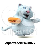 Clipart Of A 3d White Kitty Cat Holding A Hot Dog On A White Background Royalty Free Vector Illustration