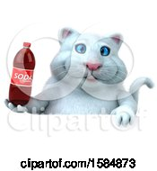 Clipart Of A 3d White Kitty Cat Holding A Soda On A White Background Royalty Free Vector Illustration
