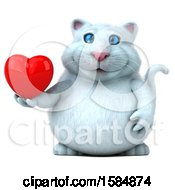 Clipart Of A 3d White Kitty Cat Holding A Heart On A White Background Royalty Free Vector Illustration
