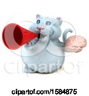 Clipart Of A 3d White Kitty Cat Holding A Brain On A White Background Royalty Free Vector Illustration