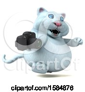 Clipart Of A 3d White Kitty Cat Holding A Camera On A White Background Royalty Free Vector Illustration