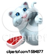 Clipart Of A 3d White Kitty Cat Holding A Steak On A White Background Royalty Free Vector Illustration