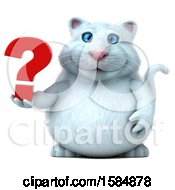 Clipart Of A 3d White Kitty Cat Holding A Question Mark On A White Background Royalty Free Vector Illustration