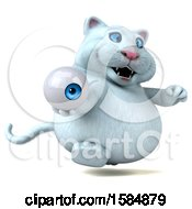 Clipart Of A 3d White Kitty Cat Holding An Eye On A White Background Royalty Free Vector Illustration