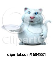 Clipart Of A 3d White Kitty Cat Holding A Plate On A White Background Royalty Free Vector Illustration