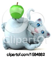 Clipart Of A 3d White Kitty Cat Holding An Apple On A White Background Royalty Free Vector Illustration