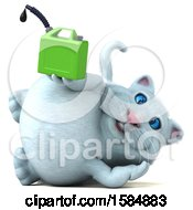 Clipart Of A 3d White Kitty Cat Holding A Gas Can On A White Background Royalty Free Vector Illustration