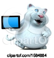 Clipart Of A 3d White Kitty Cat Holding A Tablet On A White Background Royalty Free Vector Illustration