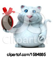 Clipart Of A 3d White Kitty Cat Holding A Chocolate Egg On A White Background Royalty Free Vector Illustration