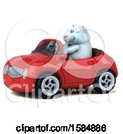 Clipart Of A 3d White Kitty Cat Driving A Convertible On A White Background Royalty Free Vector Illustration