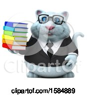 Clipart Of A 3d White Business Kitty Cat Holding Books On A White Background Royalty Free Vector Illustration