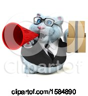Clipart Of A 3d White Business Kitty Cat Holding Boxes On A White Background Royalty Free Vector Illustration
