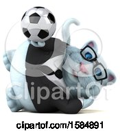 Clipart Of A 3d White Business Kitty Cat Holding A Soccer Ball On A White Background Royalty Free Vector Illustration