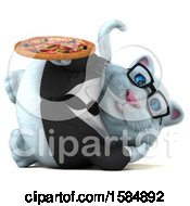 Clipart Of A 3d White Business Kitty Cat Holding A Pizza On A White Background Royalty Free Vector Illustration