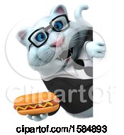 Clipart Of A 3d White Business Kitty Cat Holding A Hot Dog On A White Background Royalty Free Vector Illustration
