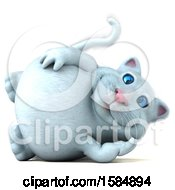 Clipart Of A 3d White Kitty Cat Resting On A White Background Royalty Free Vector Illustration by Julos