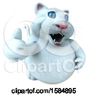 Clipart Of A 3d White Kitty Cat Holding A Thumb Up On A White Background Royalty Free Vector Illustration by Julos