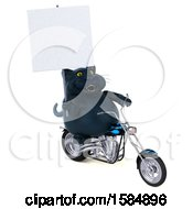 Clipart Of A 3d Black Kitty Cat Riding A Chopper Motorcycle On A White Background Royalty Free Illustration