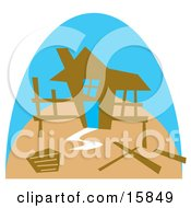 The Framework Of A Stick Built House Under Construction Clipart Illustration