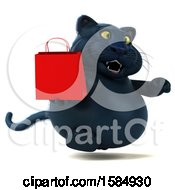 3d Black Kitty Cat Holding A Shopping Bag On A White Background