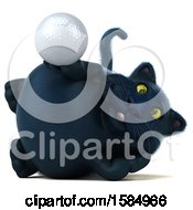 3d Black Kitty Cat Holding A Golf Ball On A White Background