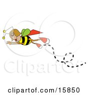 Female Bee In Flight Clipart Illustration