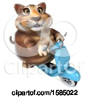 Clipart Of A 3d Tabby Kitty Cat Riding A Scooter On A White Background Royalty Free Illustration