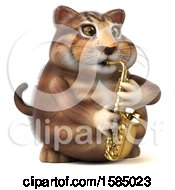 3d Tabby Kitty Cat Playing A Saxophone On A White Background