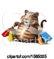 Clipart Of A 3d Tabby Kitty Cat Carrying Shopping Bags On A White Background Royalty Free Illustration