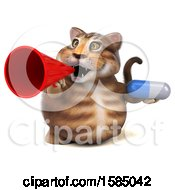 3d Tabby Kitty Cat Holding A Pill On A White Background