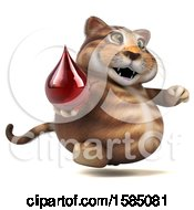 Clipart Of A 3d Tabby Kitty Cat Holding A Blood Drop On A White Background Royalty Free Vector Illustration