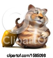 3d Tabby Kitty Cat Traveling On A White Background