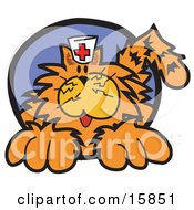 Long Haired Orange Cat Wearing A Nursing Cap Clipart Illustration