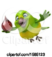 Clipart Of A 3d Green Bird Holding A Blood Drop On A White Background Royalty Free Illustration