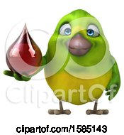 Clipart Of A 3d Green Bird Holding A Blood Drop On A White Background Royalty Free Vector Illustration