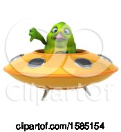 Clipart Of A 3d Green Bird Flying A Ufo On A White Background Royalty Free Vector Illustration
