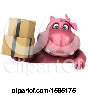 Clipart Of A 3d Pink Henrietta Hippo Holding Boxes On A White Background Royalty Free Illustration