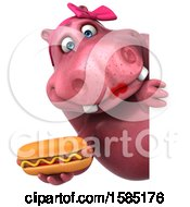 Clipart Of A 3d Pink Henrietta Hippo Holding A Hot Dog On A White Background Royalty Free Illustration