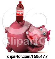 Clipart Of A 3d Pink Henrietta Hippo Holding A Soda On A White Background Royalty Free Illustration