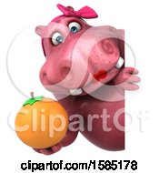 Clipart Of A 3d Pink Henrietta Hippo Holding An Orange On A White Background Royalty Free Illustration