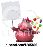 Clipart Of A 3d Pink Henrietta Hippo Holding Produce On A White Background Royalty Free Illustration by Julos