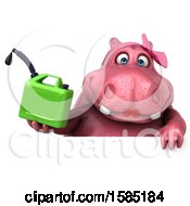 Clipart Of A 3d Pink Henrietta Hippo Holding A Gas Can On A White Background Royalty Free Illustration by Julos