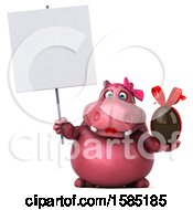 Clipart Of A 3d Pink Henrietta Hippo Holding A Chocolate Egg On A White Background Royalty Free Illustration by Julos