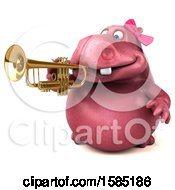 Clipart Of A 3d Pink Henrietta Hippo Playing A Trumpet On A White Background Royalty Free Illustration by Julos