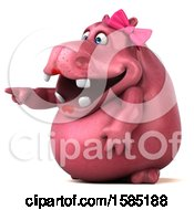 Clipart Of A 3d Pink Henrietta Hippo Pointing On A White Background Royalty Free Illustration by Julos