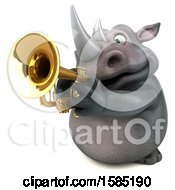 Clipart Of A 3d Rhinoceros Playing A Trumpet On A White Background Royalty Free Illustration by Julos
