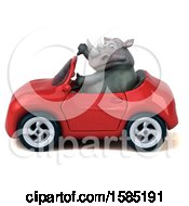 Clipart Of A 3d Rhinoceros Driving A Convertible On A White Background Royalty Free Illustration by Julos