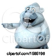 Clipart Of A 3d White Monkey Yeti Pointing On A White Background Royalty Free Illustration
